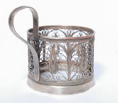 Vintage Russian filigree metal  tea glass holder by SkyLynx