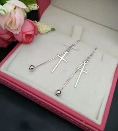 925 sterling silver cross and bead pendant earrings E4903-0414 -Gifts box