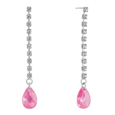 A pair of princess drop earrings, finished with a beautiful pink cubic zirconia at the bottom. This beautiful pair serves as a unique, obviously girly option that is fun to wear with a flowy, girly dress. Guy & Eva's Winnie earrings, $32.