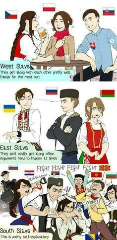 Slavic counties explained See more Funny pictures Be sure to share this post with your friends on social media before you go. Hetalia, Funny Jokes, Hilarious, Russian Memes, Me Anime, History Memes, Country Art, Best Funny Pictures, One Pic