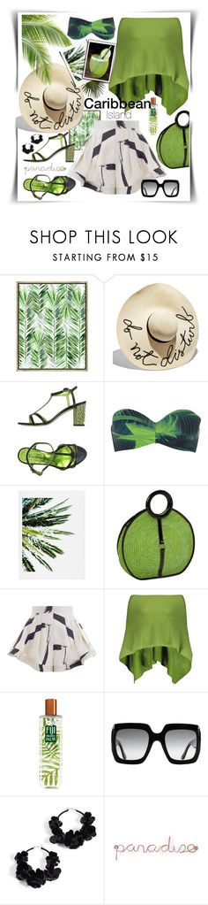 """""""Caribbean Paradise"""" by gingerbrand ❤ liked on Polyvore featuring PTM Images, Eugenia Kim, Kristina Ti, Calvin Klein, DENY Designs, Magid, Zimmermann, Claudia Nichole, Gucci and Oscar de la Renta"""