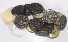 Lot-of-15-Antique-metal-buttons-Tinted-Green-Back-Marked-Paris-1883