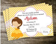 Belle Bell Beauty and the Beast Polka Dot Disney Princess Birthday Party Invitation Digital Printable