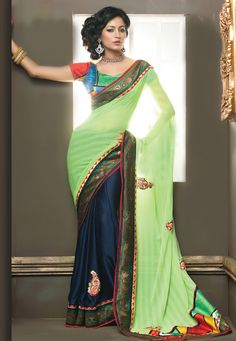 Pastel #Green and #Blue Faux Chiffon and Faux Crepe #Saree with Blouse Online Shopping: SXZ1220A