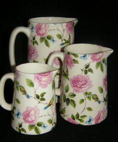 BN Shabby Chic Rose and Exotic Birds Milk Jug, Cream Stoneware Jug vintage style
