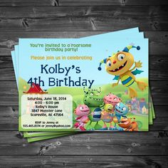 Henry Hugglemonster Birthday Party - Printable Custom Invitation by KatiePaigeDesign