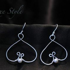 Silver Heart Ear Rings Wire wrapped Pearl Handmade metal jewelry ...