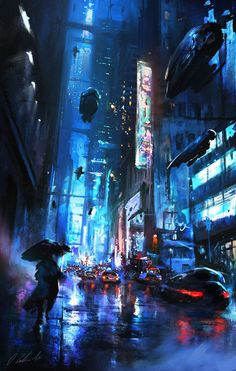 Walking on the street by daRoz Blade Runner cyberpunk landscape location environment architecture I don't know where to put this, but this looks amazing! Maybe a scene on earth? Arte Cyberpunk, Cyberpunk City, Ville Cyberpunk, Futuristic City, Cyberpunk Anime, Cyberpunk 2077, Futuristic Architecture, What Is Cyberpunk, Arte Sci Fi