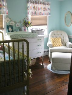 The Prettiest Vintage Nurseries | love the chair, love the dresser love the wall color