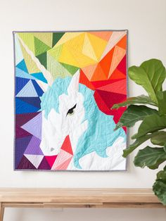 Maybe the Unicorn - Paper Piecing Quilt Pattern (Geometric Background)