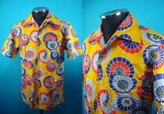 Cotton Kimono Hawaiian shirt, yukata fabric, yellow, Men, US size M by PriscillaTokyo on Etsy
