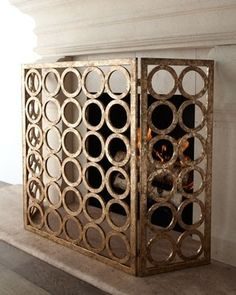 simple and elegant fireplace screen.