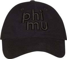 Is black more your style? This classic cap featured a 3D-effect lettering design. Phi Mu, Visors, Mu Hat, Caps Hats, Baseball Hats, Beanie, School Essentials, Black, Lettering Design