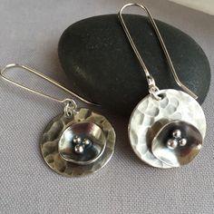 Oxidized Sterling Silver Earrings with a poppy flower.