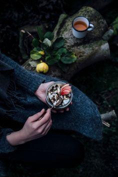 autumn breakfast: hemp milk-quinoa-oat porridge with quinces and apple compote