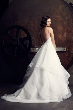 View Elegant Layered Wedding Dress - Style from Mikaella Bridal. Crêpe bodice with V-neck. Multi-layered Organza skirt with horsehair edging on hems. Bridal Wedding Dresses, Wedding Dress Styles, Wedding Bells, Mikaella Bridal, Horse Hair, Classy Dress, Bridal Collection, Dress Collection, One Shoulder Wedding Dress