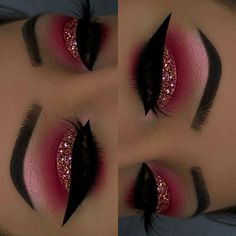 Fall Styles/ Latest Eye Makeup - Eazy Vibe Hello, Today we bri. - Fall Styles/ Latest Eye Makeup – Eazy Vibe Hello, Today we bring to you 'Fall - Red Eyeshadow Look, Red Eye Makeup, Makeup Eye Looks, Glitter Eye Makeup, Colorful Eye Makeup, Pink Makeup, Cute Makeup, Glam Makeup, Pretty Makeup