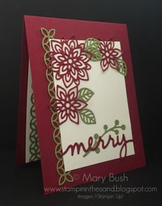 Stampin' in the Sand: Card: Flourish Thinlits Dies For The Holidays! Stampin Up