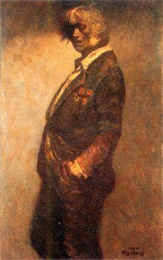 鴨居玲《勲章》1985年 油彩・キャンバス 116.7×72.7センチメートル