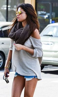Scarf. Over the shoulder sweater. Jean shorts. Perfect summer to fall transition.