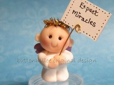 Sweet Guardian Angel Baby Miniature with Greeting von Buttonwilloe