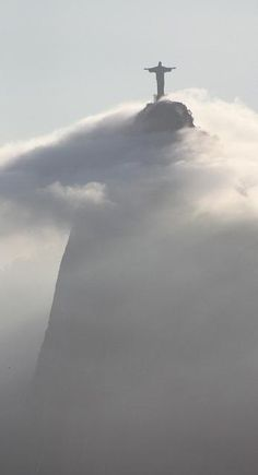Christ the Redeemer Statue in the morning fog