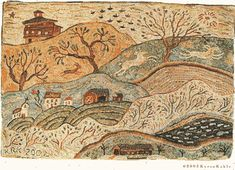 Vermont rug hooking pattern on linen//primitive landscape//Karen Kahle//barns//church//covered bridge//deer Vermont, Sheep Rug, Primitive Patterns, Rug Inspiration, Rug Hooking Patterns, Hand Hooked Rugs, Karen, Penny Rugs, Traditional Rugs