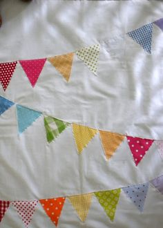 Rainbow Bunting Baby Quilt