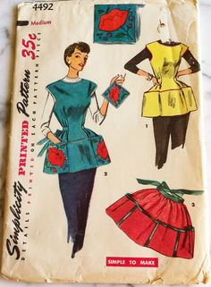 Vintage 1950s Simplicity Apron Printed Pattern w by RumbleSeatCat