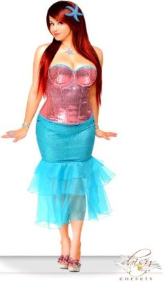 Womens-Siren-Costume-Mermaid-Halloween-Party-Corset-Small-2-XL-Plus-Size-New