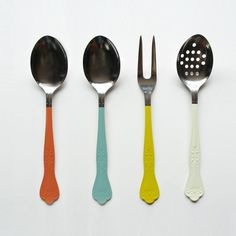 Old serveware...looks like they just dipped these in paint!  Fun idea, could totally do this with some goodwill finds.