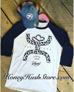Hooey black and white baseball tee with a cheetah filled Hooey logo-Pack
