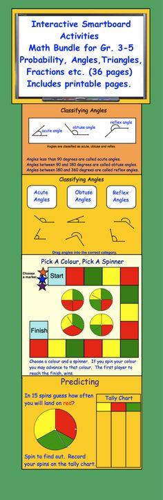 Interactive Smartboard Activities Math Bundle Gr. 3-5
