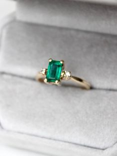 Vintage ring spotlight: emerald stones are of another time. This baguette cut stone shimmers like the day it was made. See more here: https://www.davieandchiyo.com/collections/lifestyle-rings