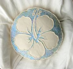 Hibiscus flower pillow with pastel blue, lavender, and pink batik and natural denim round boho pillow
