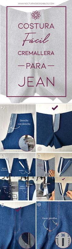 Cómo coser la cremallera para jean – Nocturno Design Blog Techniques Couture, Design Blog, Sewing Hacks, Patterned Shorts, Dyi, Stitches, Pants, Projects, Fashion