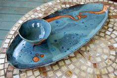 Slate blue with rust Plater with dipping bowl