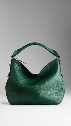 Small Heritage Grain Leather Hobo Bag | Burberry