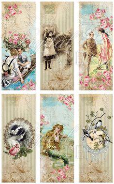 Stories set of 6 bookmarks digital collage por bydigitalpaper