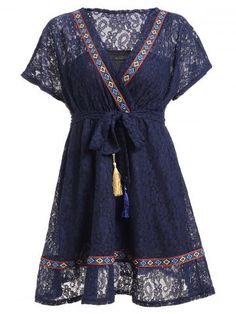 Lace-Up Ethnic Print Lace Dress
