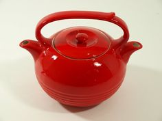 1054: 1940's Hall China for Invento Double Spout Teapot : Lot 1054
