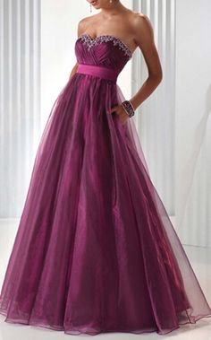 Purple Evening Dresses Organza Prom Dresses Ball Gown