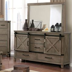 This rustic style dresser takes the best of all interior designs by blending the classics with rugged rustic flair. Each is scaled to balance the rural details with a minimalistic approach that exemplifies down to earth sophistication. The solid wood pieces are topped with wood veneer, giving each piece a smooth and refined exterior. Felt-lined top drawers and sliding cabinet doors give the storage pieces extra appeal.Product Features Rustic Dark Walnut Solid Wood, Wood Veneer, Others Felt-lined Dresser Top Decor, Rustic Dresser, 4 Drawer Dresser, Wood Dresser, Dresser With Mirror, Mirror Set, Brown Dresser, Mirror Drawers, Sliding Cabinet Doors