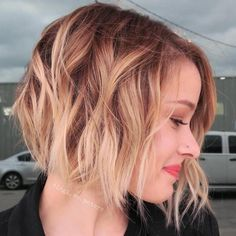 Brown Bob With Strawberry Blonde Balayage