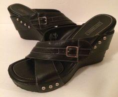 Harley Davidson Shoes black leather Wedges  9.5 M Silver Studs #HarleyDavidson #Slides