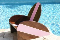 Kid's Vintage Surfboard Chair with Pink Stripe, Free Shipping, Nautical Themed Chair, Dark Brown with Pink accent stripeb