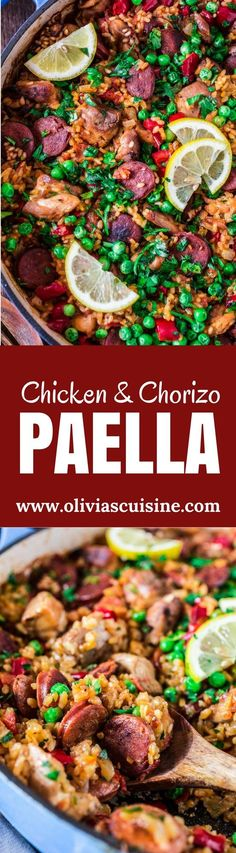 Chicken and Chorizo Paella | http://www.oliviascuisine.com | A Chicken and Chorizo Paella might sound like a very ambitious project, but once you realize how easy and quick it is, you will be making it over and over again. Pair it with a bottle of Garnacha Wine and you're all set for success!