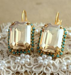Turquoise Crystal Champagne earring  14 k plated gold by iloniti, $48.00