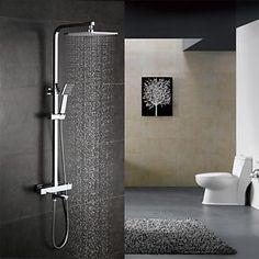 Moderne Bruse System Termostatisk Regnbruser Håndbruser inkluderet with Keramik Ventil To Håndtag tre huller for Krom Bruser