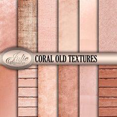 Coral Digital paperCORAL OLD TEXTURESwith coral от JulieDigitalArt